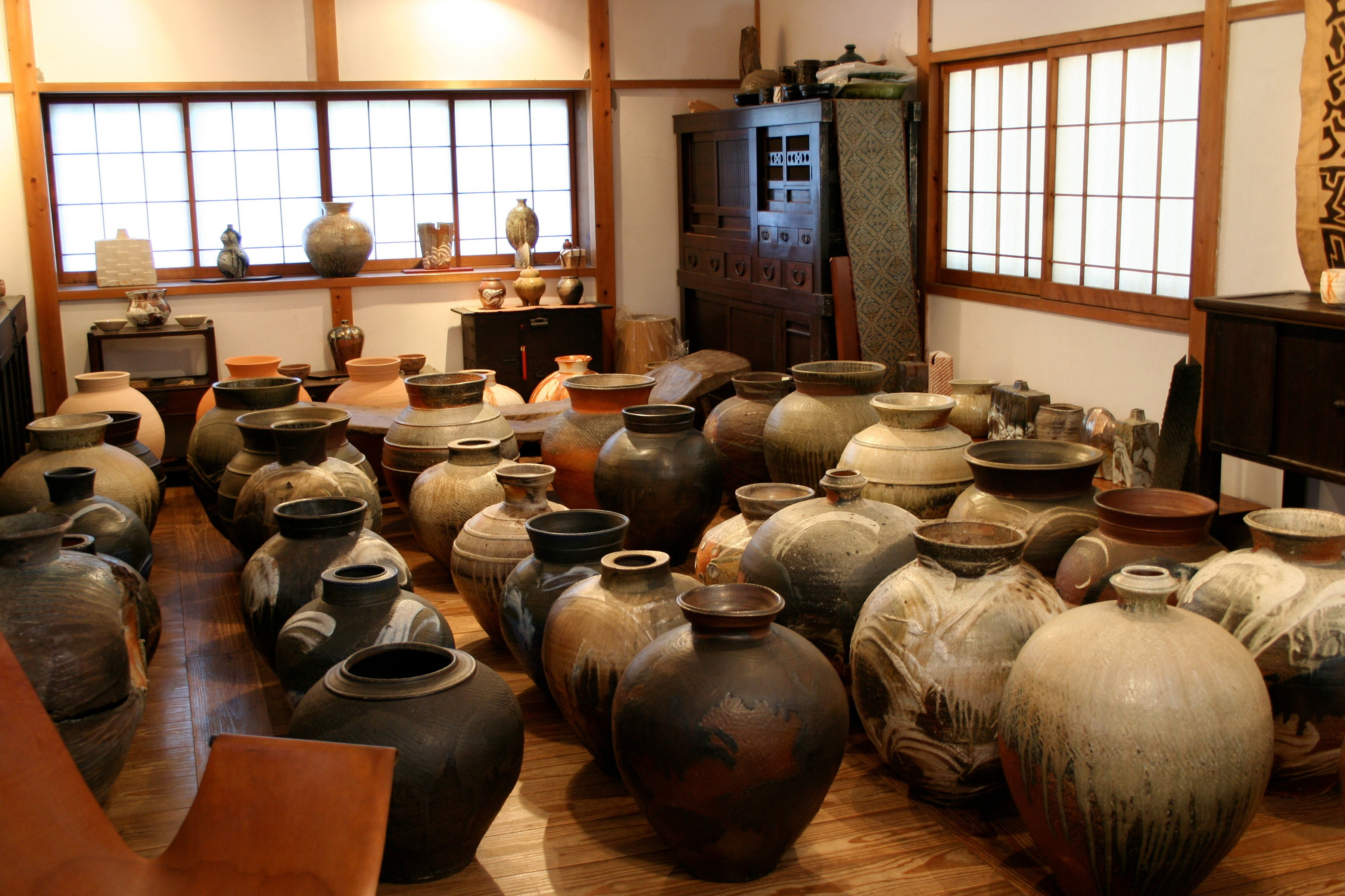 Anagama fired big pots, 2013