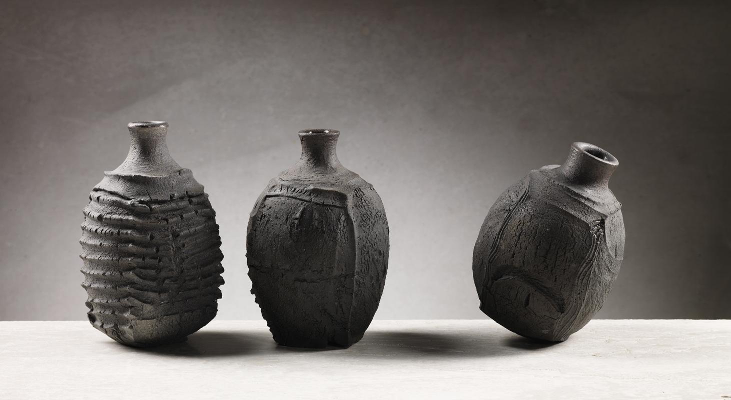 Patricia Shone 3 bottles saggar fired stoneware 2017