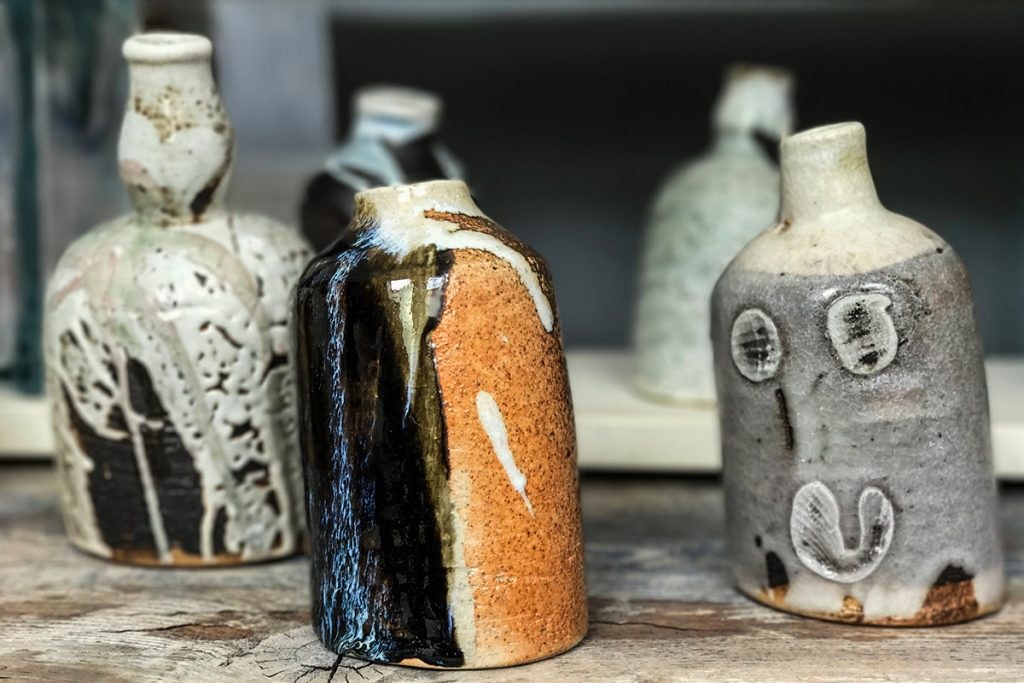patricia-shone-ceramics-skye-collection-midden-drunken bottles-wood fired