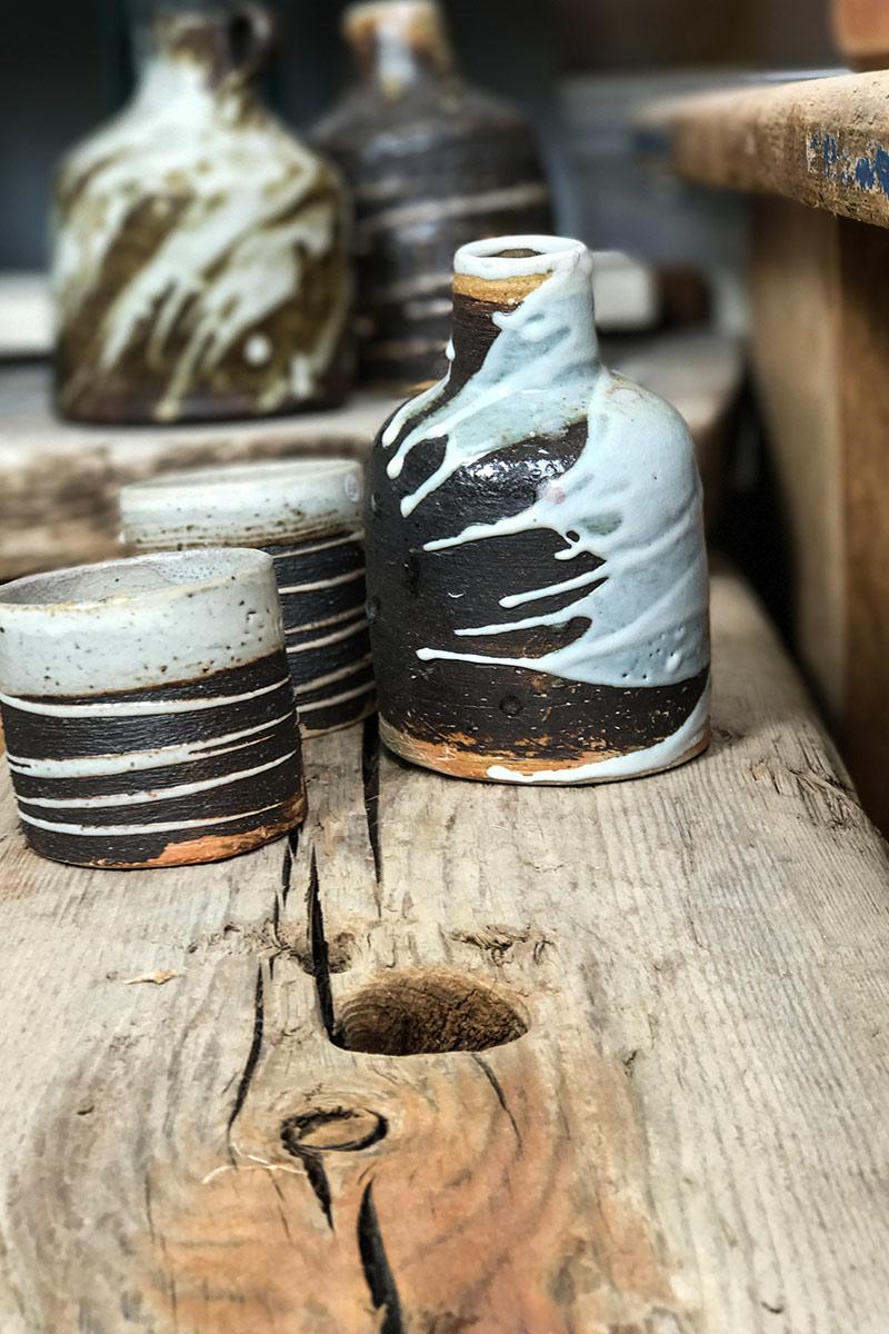 patricia-shone-ceramics-skye-collection-midden-drunken bottle-tipsy cups-wood fired