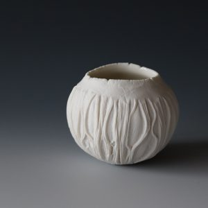 Small porcelain Ice Erosion bowl by Patricia Shone