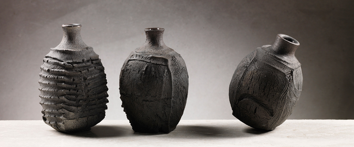 Patricia-Shone-3-bottles-saggar-fired-stoneware-2017-image-Shannon-Tofts
