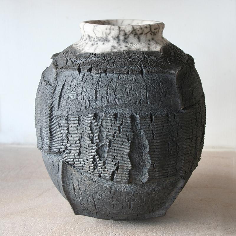 Patricia Shone Ceramics, Isle of Skye, Raku Erosion Jar 8