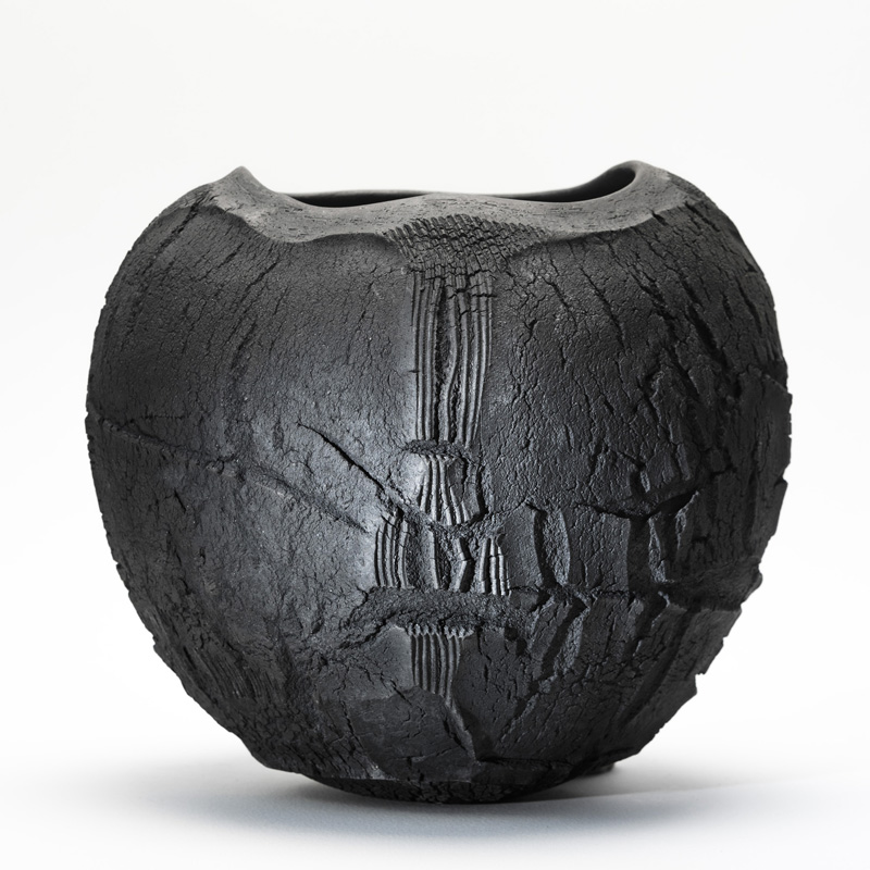 Patricia Shone Ceramics, Isle of Skye, Raku Erosion Bowl 18