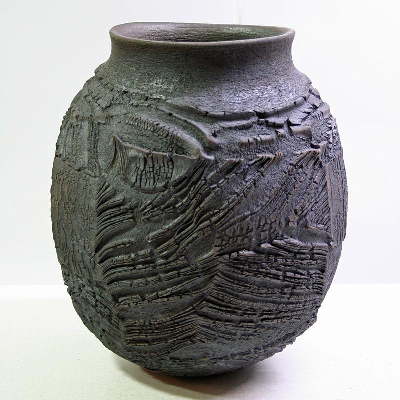 Patricia Shone Erosion Jar 20 - raku fired