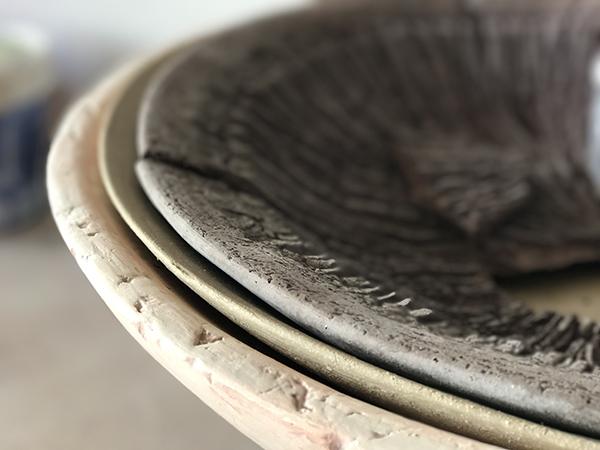 Patricia Shone, large plates, studio